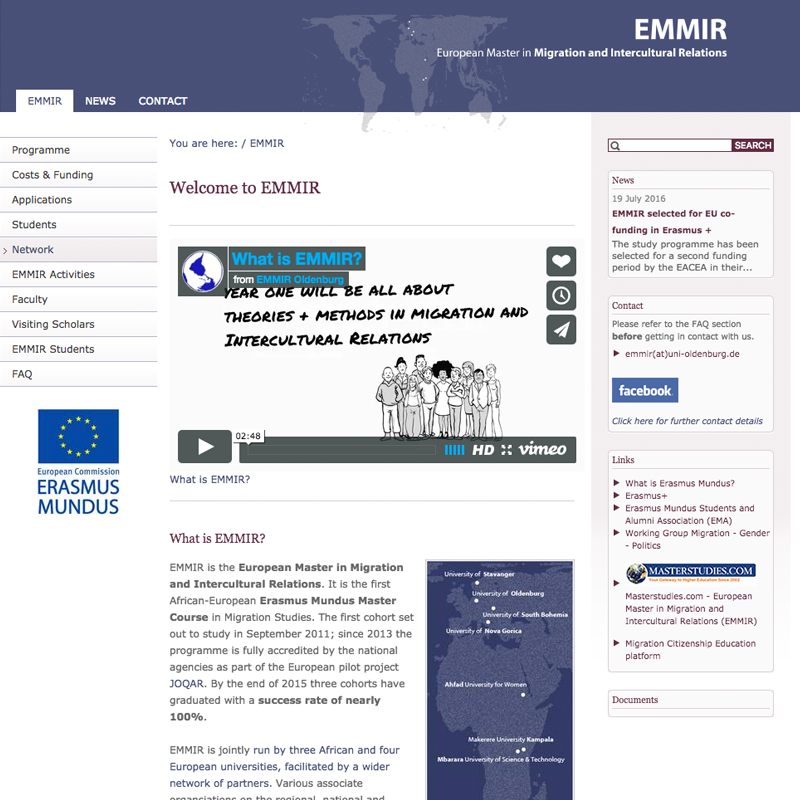 European Master in Migration and Intercultural Relation